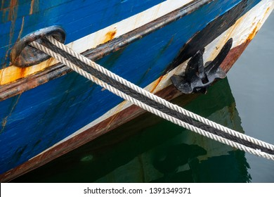 Bow with anchor, detail of an old fishing boat