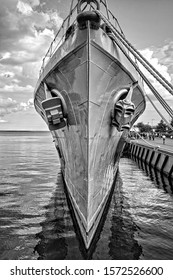 Bow with anchors of ORP Blyskawica (Lightning),  destroyer which served in the Polish Navy during World War II, the oldest preserved destroyer in the world,, Gdynia, Poland Monochrome image