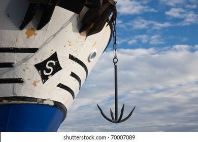 Bow of big ship with an anchor