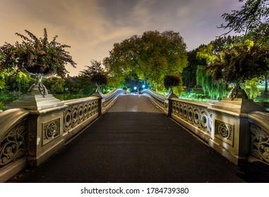 Bow bridge at night in Central Park New York landmark
