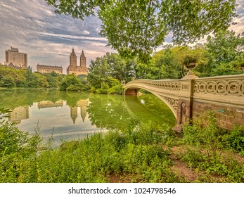 Bow bridge in summer Central Park
