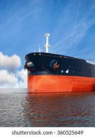 Bow of a bulk carrier on sea.