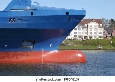 bow of a container ship