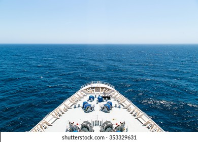 Bow of a cruise ship with the sea in the front