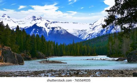 Bow Falls in Banff, Alberta, Canada