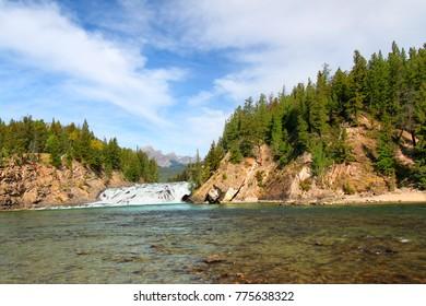 Bow Falls flowing through the woodlands of Canada near Banff Alberta