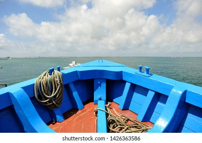 Bow of the ferry that travels from Olhao to Culatra island and Farol beach through Ria Formosa Natural Park. Algarve region southern Portugal