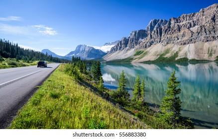 Bow Lake near Icefields Parkway, Banff, Rocky Mountains, Alberta, Canada