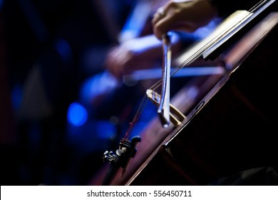 The bow on the strings of the cello closeup in dark colors