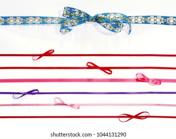 bow and ribbons isolated over white background