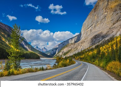 The Bow River Canyon in September.  Canadian Rockies, Great Banff. Excellent highway and surrounded by autumnal woods