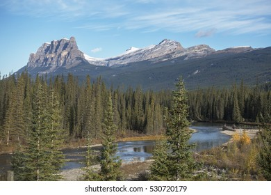 Bow River and Castle Mountain views, Banff National Park, Alberta, Canada