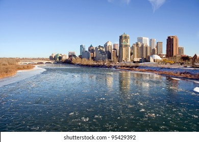 Bow River with Ice Flowing in month of December, Calgary, Alberta, Canada