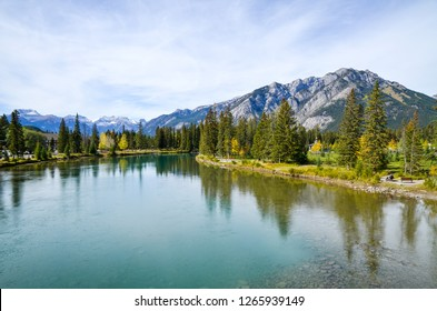 Bow River in town of Banff and Sulphur Mountain, Banff, Canadian Rockies, Alberta, Canada