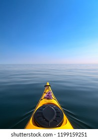 The bow of the sea kayak on the background of the sea.