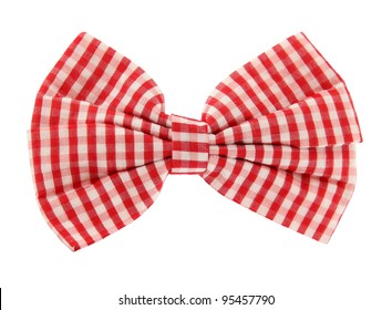 Bow tie red white plaid