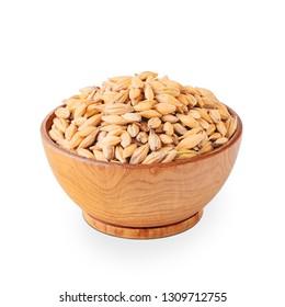 Bowl of barley seeds isolated on white background