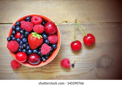Bowl of berries and cherry
