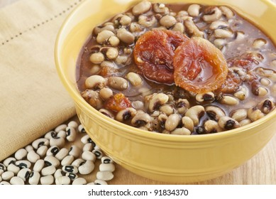a bowl of black eye peas or hoppin' john