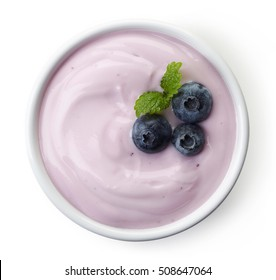 Bowl of blueberry yogurt isolated on white background from top view