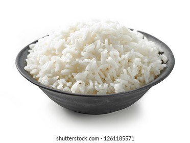 bowl of boiled rice isolated on white background