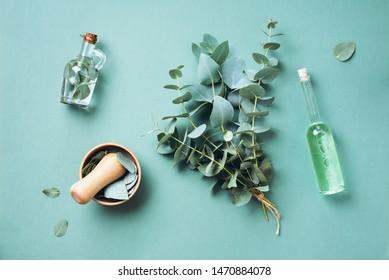 Schüssel, Flaschen von Eukalyptus ätherisches Öl, Mörtel, Haufen frischer Eukalyptus Äste auf grünem Hintergrund. Naturorganische Inhaltsstoffe für Kosmetika, Hautpflege, Körperbehandlung.