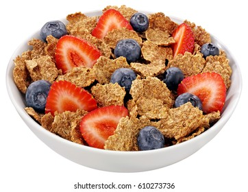 BOWL OF BRANFLAKES WITH FRUIT CUT OUT