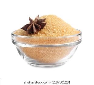 bowl of cane sugar isolated on white background