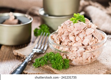 Bowl with canned Tuna (detailed close-up shot)