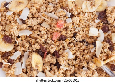 Bowl of cereal with dried fruits