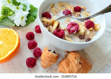 Bowl with cereals with raspberry and banana chips