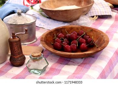 Bowl of Cherries in Authentic Dinnerware 1700s setting