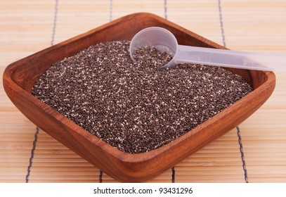 A bowl of chia seeds, a healthy source of antioxidants, omega 3 and fiber.