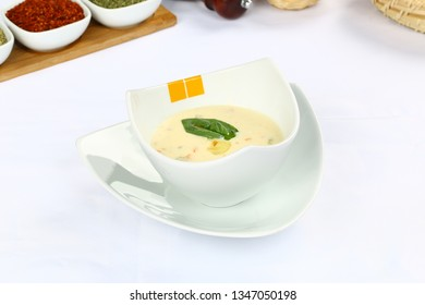 Bowl of chicken broth soup