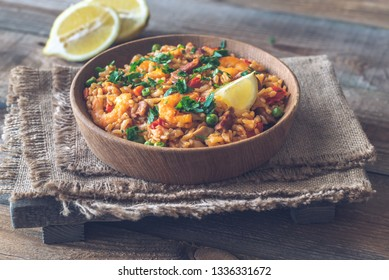 Bowl of chicken and chorizo paella close-up