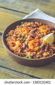 Bowl of chicken and chorizo paella close-up