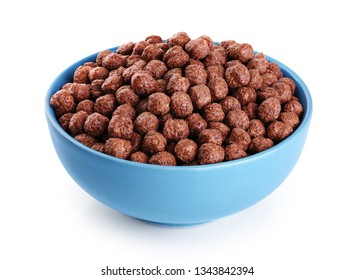 Bowl with chocolate corn balls isolated on white background. With clipping path.