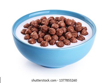 Bowl with chocolate corn balls, milk, yogurt isolated on white background. With clipping path.