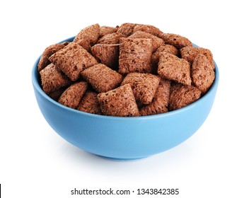 Bowl with chocolate corn pads isolated on white background. With clipping path.