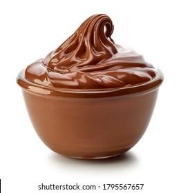 bowl of chocolate cream isolated on white background