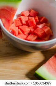 bowl with chopped watermelon