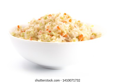 A Bowl of Coleslaw Isolated on a White Background
