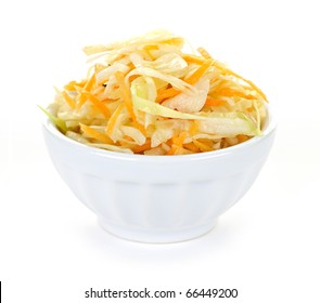 Bowl of coleslaw with shredded cabbage isolated on white background