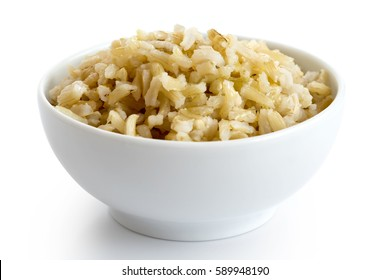 Bowl of cooked long grain brown rice isolated on white.
