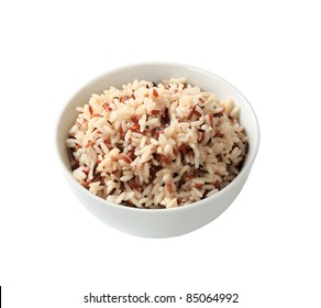 Bowl of cooked mixed rice - studio