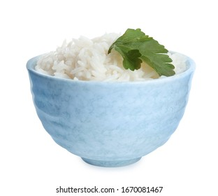 Bowl with cooked rice and parsley isolated on white