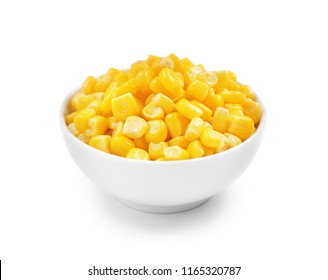 Bowl with corn kernels on white background