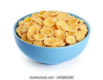 Bowl with cornflakes isolated on white background. With clipping path.