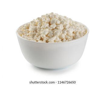 Bowl of cottage cheese isolated on white background