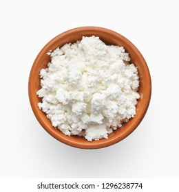 Bowl of cottage cheese on white background, top view. Eco farm dairy products concept